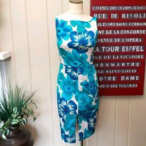 Express | 6 blue floral hibiscus sleeveless dress